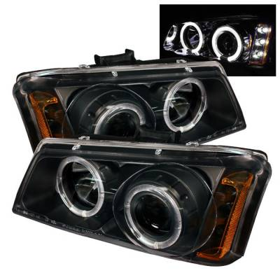 Headlights & Tail Lights - Headlights - Spyder - Chevrolet Avalanche Spyder Projector Headlights - LED Halo - LED - Amber Reflector - Black - 444-CS03-AM-BK