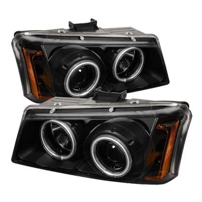 Headlights & Tail Lights - Headlights - Spyder - Chevrolet Avalanche Spyder Projector Headlights - CCFLHalo - LED - Black - 444-CS03-CCFL-BK