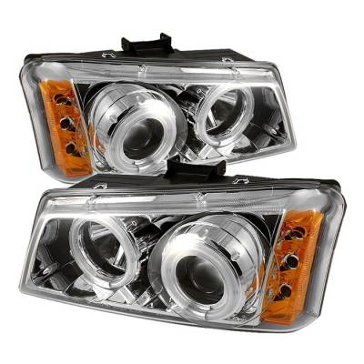 Headlights & Tail Lights - Headlights - Spyder - Chevrolet Avalanche Spyder Projector Headlights - CCFL Halo - LED - Chrome - 444-CS03-CCFL-C