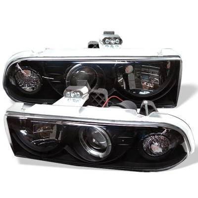 Headlights & Tail Lights - Headlights - Spyder - Chevrolet S10 Spyder Projector Headlights - LED Halo - Black - 444-CS1098-BK