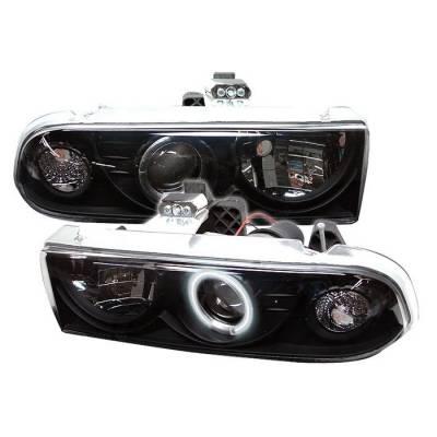 Headlights & Tail Lights - Headlights - Spyder - Chevrolet S10 Spyder Projector Headlights - CCFL Halo - Black - 444-CS1098-CCFL-BK