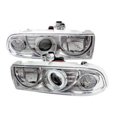 Headlights & Tail Lights - Headlights - Spyder - Chevrolet S10 Spyder Projector Headlights - CCFL Halo - Chrome - 444-CS1098-CCFL-C