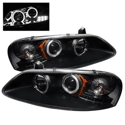 Headlights & Tail Lights - Headlights - Spyder - Dodge Stratus 4DR Spyder Projector Headlights - LED Halo - LED - Black - 444-CSEB01-HL-BK