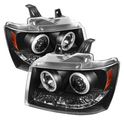 Headlights & Tail Lights - Headlights - Spyder - Chevrolet Avalanche Spyder Projector Headlights - CCFL Halo - LED - Black - 444-CSUB07-CCFL-BK