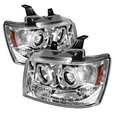 Headlights & Tail Lights - Headlights - Spyder - Chevrolet Avalanche Spyder Projector Headlights - CCFL Halo - LED - Chrome - 444-CSUB07-CCFL-C