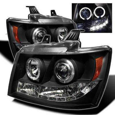 Headlights & Tail Lights - Headlights - Spyder - Chevrolet Avalanche Spyder Projector Headlights - LED Halo - LED - Black - 444-CSUB07-HL-BK