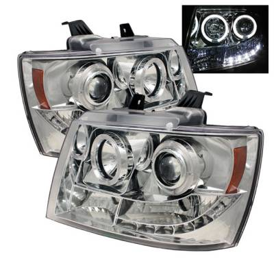 Headlights & Tail Lights - Headlights - Spyder - Chevrolet Avalanche Spyder Projector Headlights - LED Halo - LED - Chrome - 444-CSUB07-HL-C