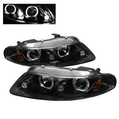 Headlights & Tail Lights - Headlights - Spyder - Dodge Avenger Spyder Projector Headlights - LED Halo - LED - Black - 444-DAV97-HL-BK
