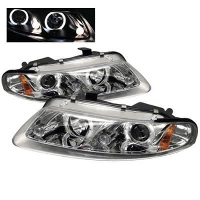 Headlights & Tail Lights - Headlights - Spyder - Dodge Avenger Spyder Projector Headlights - LED Halo - LED - Chrome - 444-DAV97-HL-C