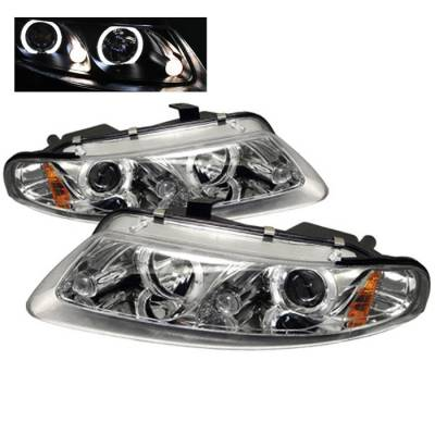 Headlights & Tail Lights - Headlights - Spyder - Chrysler Sebring 2DR Spyder Projector Headlights - LED Halo - LED - Chrome - 444-DAV97-HL-C