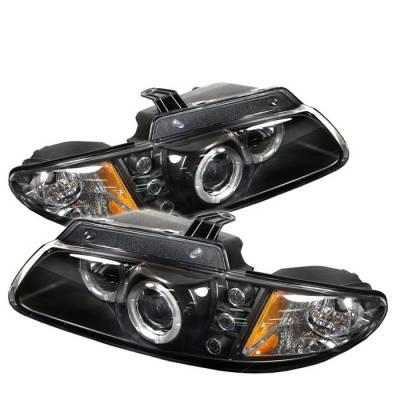 Headlights & Tail Lights - Headlights - Spyder - Chrysler Voyager Spyder Projector Headlights - LED Halo - Replaceable LEDs - Black - 444-DC96-BK