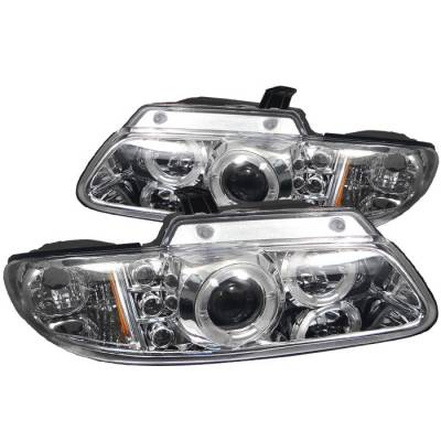 Headlights & Tail Lights - Headlights - Spyder - Chrysler Voyager Spyder Projector Headlights - LED Halo - Replaceable LEDs - Chrome - 444-DC96-C