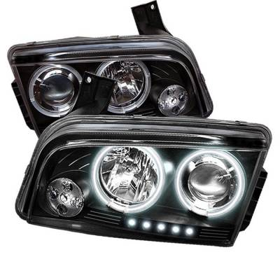 Headlights & Tail Lights - Headlights - Spyder - Dodge Charger Spyder Projector Headlights - CCFL Halo - LED - Black - 444-DCH05-CCFL-BK