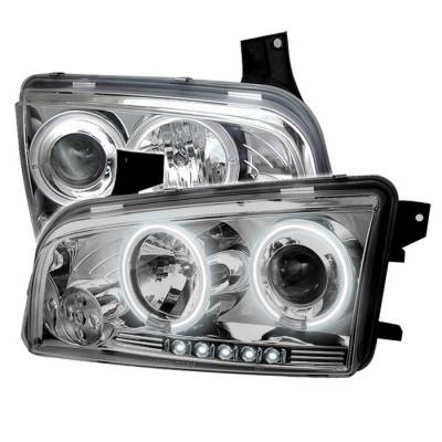 Headlights & Tail Lights - Headlights - Spyder - Dodge Charger Spyder Projector Headlights - CCFL Halo - LED - Chrome - 444-DCH05-CCFL-C