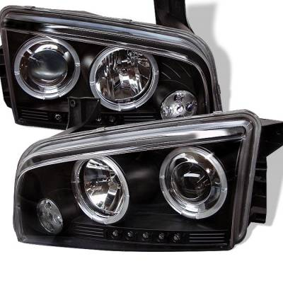 Headlights & Tail Lights - Headlights - Spyder - Dodge Charger Spyder Projector Headlights - LED Halo - LED - Black - 444-DCH05-LED-BK