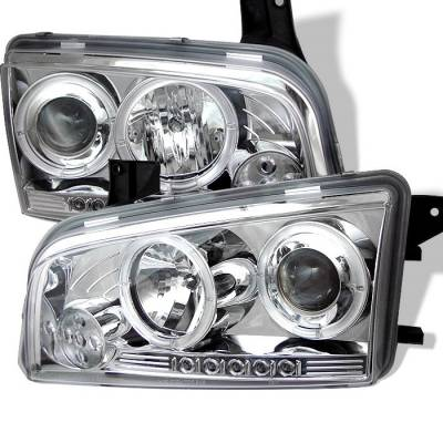 Headlights & Tail Lights - Headlights - Spyder - Dodge Charger Spyder Projector Headlights - LED Halo - LED - Chrome - 444-DCH05-LED-C