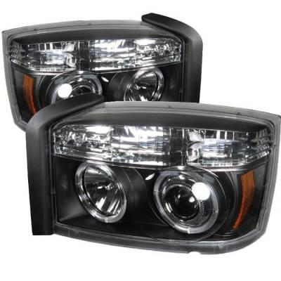 Headlights & Tail Lights - Headlights - Spyder - Dodge Dakota Spyder Projector Headlights - LED Halo - Black - 444-DDAK05-BK