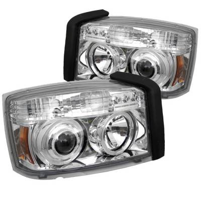 Headlights & Tail Lights - Headlights - Spyder - Dodge Dakota Spyder Projector Headlights - LED Halo - Chrome - 444-DDAK05-C