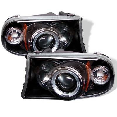 Headlights & Tail Lights - Headlights - Spyder - Dodge Dakota Spyder Projector Headlights - LED Halo - LED - Black - 1PC - 444-DDAK97-BK