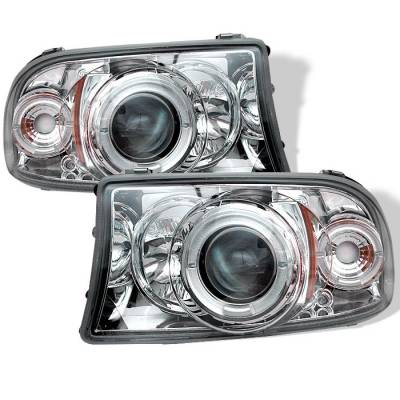 Headlights & Tail Lights - Headlights - Spyder - Dodge Dakota Spyder Projector Headlights - LED Halo - LED - Chrome - 1PC - 444-DDAK97-C