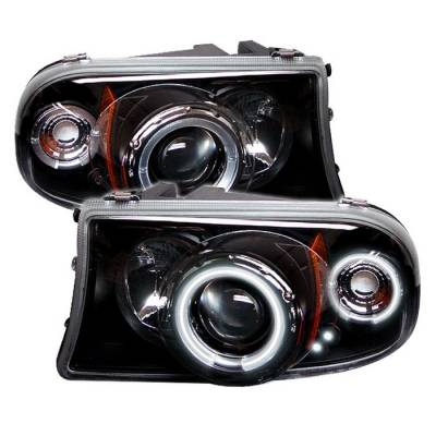 Headlights & Tail Lights - Headlights - Spyder - Dodge Dakota Spyder Projector Headlights - CCFL Halo - LED - Black - 1PC - 444-DDAK97-CCFL-BK