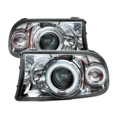 Headlights & Tail Lights - Headlights - Spyder - Dodge Durango Spyder Projector Headlights - CCFL Halo - LED - Chrome - 1PC - 444-DDAK97-CCFL-C
