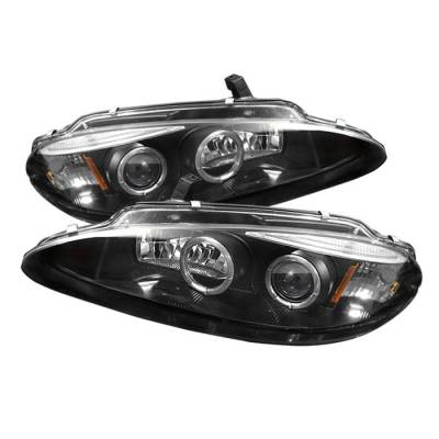 Headlights & Tail Lights - Headlights - Spyder - Dodge Intrepid Spyder Projector Headlights - LED Halo - Replaceable Eyebrow - Black - 444-DINT98-HL-BK