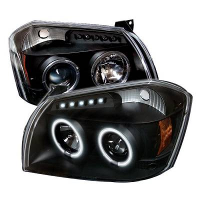 Headlights & Tail Lights - Headlights - Spyder - Dodge Magnum Spyder Projector Headlights - CCFL Halo - LED - Black - 444-DMAG05-CCFL-BK
