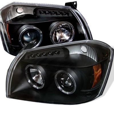 Headlights & Tail Lights - Headlights - Spyder - Dodge Magnum Spyder Projector Headlights - LED Halo - LED - Black - 444-DMAG05-LED-BK