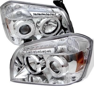 Headlights & Tail Lights - Headlights - Spyder - Dodge Magnum Spyder Projector Headlights - LED Halo - LED - Chrome - 444-DMAG05-LED-C