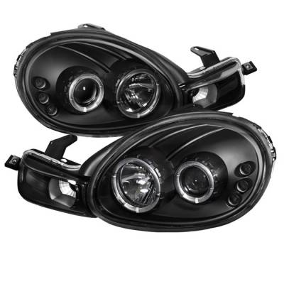 Headlights & Tail Lights - Headlights - Spyder - Dodge Neon Spyder Projector Headlights - LED Halo - LED - Black - 444-DN00-HL-BK