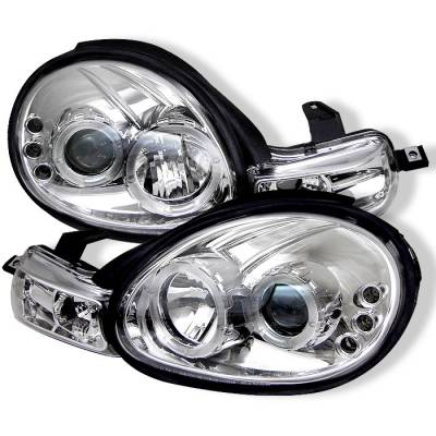 Headlights & Tail Lights - Headlights - Spyder - Dodge Neon Spyder Projector Headlights - LED Halo - LED - Chrome - 444-DN00-HL-C