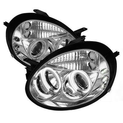 Headlights & Tail Lights - Headlights - Spyder - Dodge Neon Spyder Projector Headlights - CCFL Halo - LED - Chrome - 444-DN03-CCFL-C