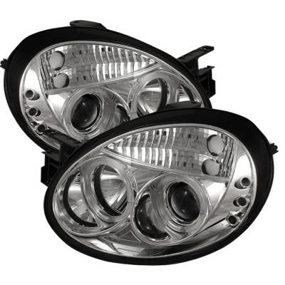 Headlights & Tail Lights - Headlights - Spyder - Dodge Neon Spyder Projector Headlights - LED Halo - LED - Chrome - 444-DN03-HL-C