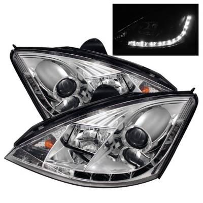 Headlights & Tail Lights - Headlights - Spyder - Ford Focus Spyder Projector Headlights - DRL - Chrome - 444-FF00-DRL-C