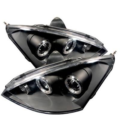 Headlights & Tail Lights - Headlights - Spyder - Ford Focus Spyder Projector Headlights - LED Halo - Black - 444-FF00-HL-BK