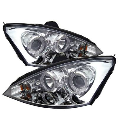 Headlights & Tail Lights - Headlights - Spyder - Ford Focus Spyder Projector Headlights - LED Halo - Black - 444-FF00-HL-C
