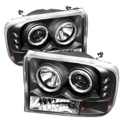 Headlights & Tail Lights - Headlights - Spyder - Ford Excursion Spyder Projector Headlights - Version 2 - LED Halo - LED - Black - 444-FF25099-1P-G2-BK