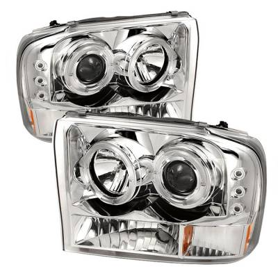 Headlights & Tail Lights - Headlights - Spyder - Ford Excursion Spyder Projector Headlights - Version 2 - LED Halo - LED - Chrome - 444-FF25099-1P-G2-C