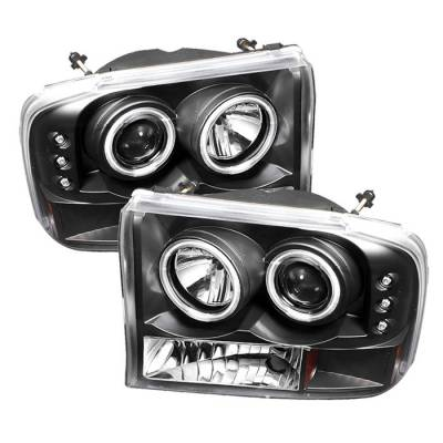 Headlights & Tail Lights - Headlights - Spyder - Ford Excursion Spyder Projector Headlights - Version 2 - CCFL Halo - LED - Black - 444-FF25099-1P-G2-CCFL-BK