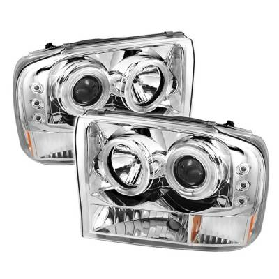 Headlights & Tail Lights - Headlights - Spyder - Ford Excursion Spyder Projector Headlights - Version 2 - CCFL Halo - LED - Chrome - 444-FF25099-1P-G2-CCFL-C