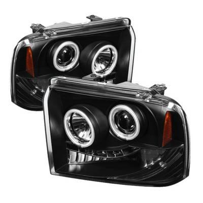 Headlights & Tail Lights - Headlights - Spyder - Ford F350 Superduty Spyder Projector Headlights - CCFL Halo - LED - Black - 444-FS05-CCFL-BK