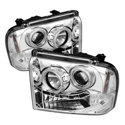Headlights & Tail Lights - Headlights - Spyder - Ford F350 Superduty Spyder Projector Headlights - CCFL Halo - LED - Chrome - 444-FS05-CCFL-C