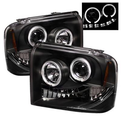 Headlights & Tail Lights - Headlights - Spyder - Ford F350 Superduty Spyder Projector Headlights - LED Halo - LED - Black - 444-FS05-HL-BK