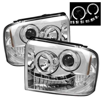 Headlights & Tail Lights - Headlights - Spyder - Ford F350 Superduty Spyder Projector Headlights - LED Halo - LED - Chrome - 444-FS05-HL-C