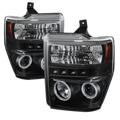 Headlights & Tail Lights - Headlights - Spyder - Ford F350 Superduty Spyder Projector Headlights - CCFL Halo - LED - Black - 444-FS08-CCFL-BK