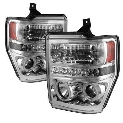 Headlights & Tail Lights - Headlights - Spyder - Ford F350 Superduty Spyder Projector Headlights - CCFL Halo - LED - Chrome - 444-FS08-CCFL-C