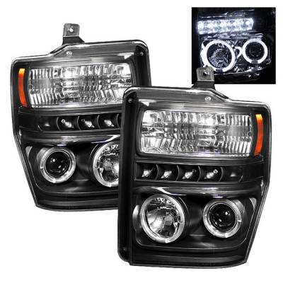 Headlights & Tail Lights - Headlights - Spyder - Ford F350 Superduty Spyder Projector Headlights - LED Halo - LED - Black - 444-FS08-HL-BK