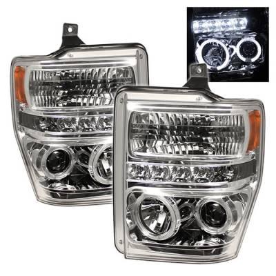 Headlights & Tail Lights - Headlights - Spyder - Ford F350 Superduty Spyder Projector Headlights - LED Halo - LED - Chrome - 444-FS08-HL-C
