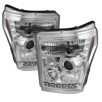Headlights & Tail Lights - Headlights - Spyder - Ford F350 Superduty Spyder Projector Headlights - LED Halo - DRL - Chrome - 444-FS11-HL-C